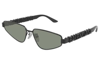 Balenciaga BB0107S 001 black black green 61 Unisex Sunglasses